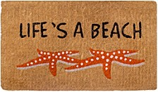 """Doormat Life's A Beach Starfish 18"""" x 30"""", Extra Thick Handwoven, Durable"""