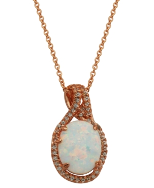 18k Rose Gold over Sterling Silver with Lab Created Opal and Cubic Zirconia Pendant