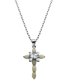"""925 Sterling Silver with Lab Created Opal and Cubic Zirconia Cross Pendant with 18"""" Chain"""