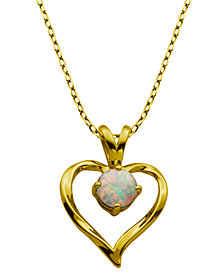 """18K Gold over Sterling Silver with Lab Created Opal Heart Pendant with 18"""" Chain"""