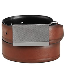 Men's Reversible Plaque Dress Belt, Created for Macy's