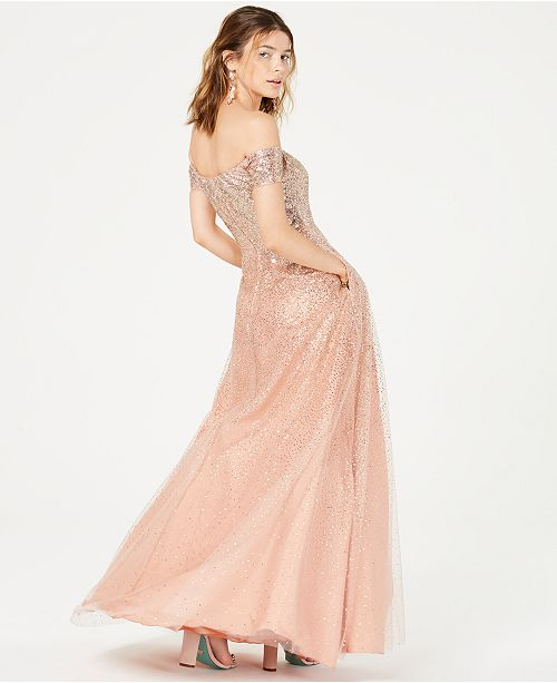 063f129b4c8 ... Say Yes to the Prom Juniors  Glitter Off-The-Shoulder Gown