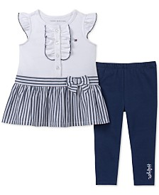 Tommy Hilfiger Baby Girls 2-Pc. Peplum Top & Leggings Set