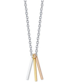 "Triple Bar Pendant Necklace in Sterling Silver & Gold-Flash and Rose Gold-Flash Plated Sterling Silver, 16"" + 2"" extender"