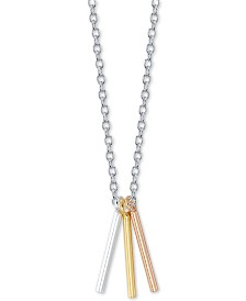 "Unwritten Triple Bar Pendant Necklace in Sterling Silver & Gold-Flash and Rose Gold-Flash Plated Sterling Silver, 16"" + 2"" extender"