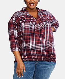 Jessica Simpson Plus Size Faux-Wrap Nursing Top