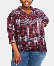 Jessica Simpson Plus Size Faux-Wrap Nursing Top