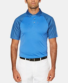 Men's Big & Tall Performance Stretch Moisture-Wicking Birdseye-Print Raglan-Sleeve Golf Polo