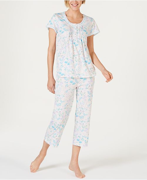Miss Elaine Cottonessa Flower-Print Knit Short-Sleeve Top and Cropped Pajama Pants Set