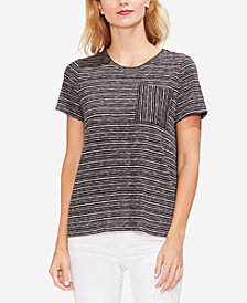Vince Camuto Striped Patch-Pocket T-Shirt