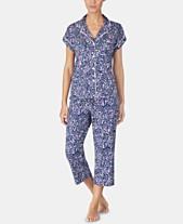 c7a1334ecef Lauren Ralph Lauren Printed Knit Notch Collar Top and Capri Pajama Pants Set