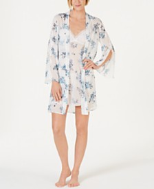 I.N.C. Printed Lace-Trim Chiffon Wrap Robe, Created for Macy's