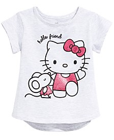 Hello Kitty Little Girls Striped Graphic-Print T-Shirt