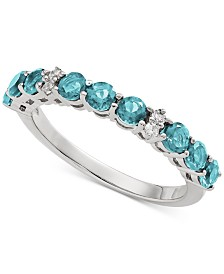Aquamarine (9/10 ct. t.w.) & Diamond Accent Ring in 14k White Gold