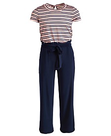 Monteau Big Girls Striped Jumpsuit