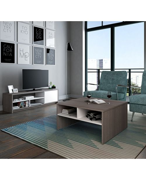 Bestar Small Space 2 - Piece Storage Coffee Table and TV Stand Set