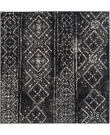 Adirondack Black and Silver 4' x 4' Square Area Rug