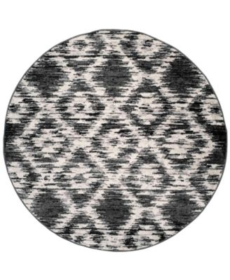 Adirondack Charcoal and Ivory 4' x 4' Round Area Rug