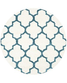 "Safavieh Shag Kids Ivory and Blue 6'7"" x 6'7"" Round Area Rug"