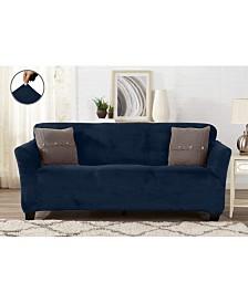Velvet Plush Solid Form Fit Stretch Sofa Slipcover