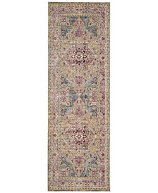 "Claremont Grape and Blue 2'6"" x 12' Runner Area Rug"