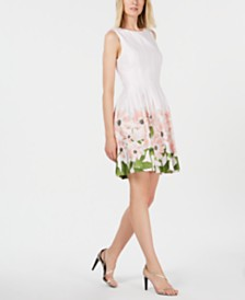 Calvin Klein Daisy Border Fit & Flare Dress