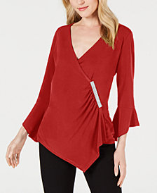 JM Collection Petite Diamonte Bell Sleeve Wrap Top, Created for Macy's
