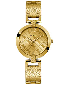 GUESS Women's G Luxe Gold-Tone Stainless Steel Bangle Bracelet Watch 35mm