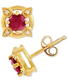 Certified Ruby (5/8 ct. t.w.) & Diamond Accent Stud Earrings in 14k Gold(Also Available In Emerald and Sapphire)