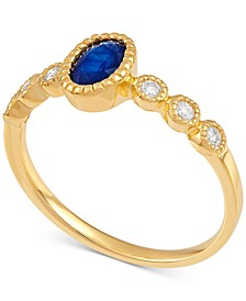 Sapphire (5/8 ct. t.w.) & Diamond (1/10 ct. t.w.) Ring in 14k Gold