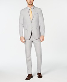 Perry Ellis Men's Slim-Fit Light Gray Suit