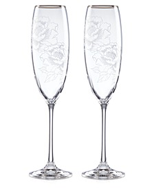 Silver Peony Toasting Flutes