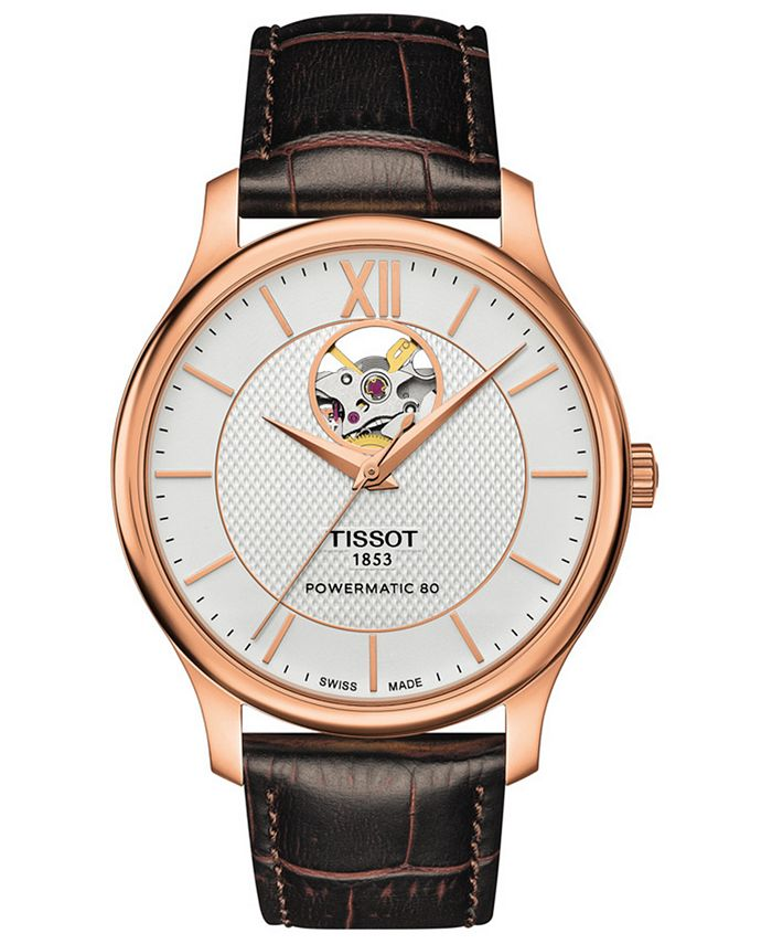 Tissot - Men's Swiss Automatic T-Classic Tradition Brown Leather Strap Watch 40mm