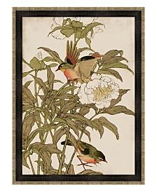 "Peking Robin and Peonies Framed Giclee Wall Art - 35"" x 47"" x 2"""