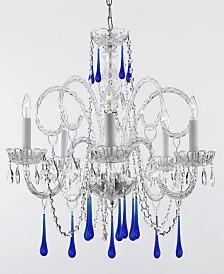 Empress 5-Light Crystal Chandelier with Blue Crystal Trimmed with Swarovski Crystal