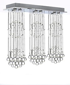 Modern 9-Light Chrome Raindrop Crystal Flush mount Chandelier