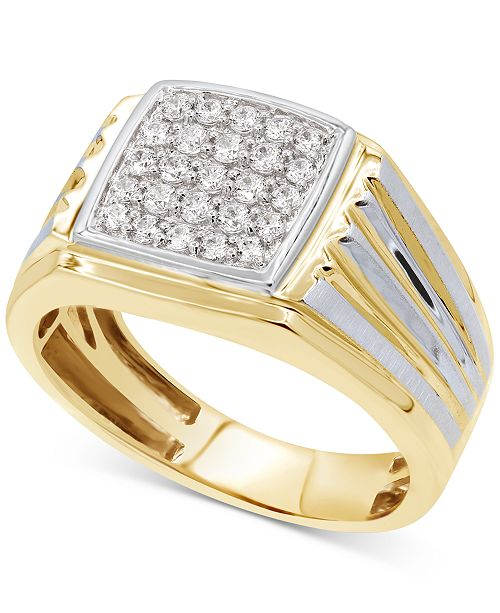 Macy S Men S Diamond Two Tone Ring 1 2 Ct T W In 10k