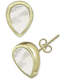 Mother-of-Pearl Teardrop Stud Earrings in Gold-Plated Sterling Silver