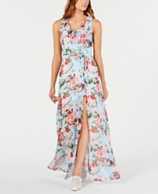 Teeze Me Juniors' Printed Chiffon Maxi Dress