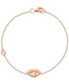 Imitation Opal & Cubic Zirconia Evil Eye Bracelet Link Bracelet in 18k Rose Gold-Plated Bracelet