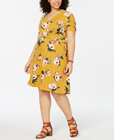 Planet Gold  Trendy Plus Size Floral-Print Fit & Flare Dress