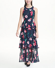 Tommy Hilfiger Tulip Chiffon Tier Maxi Dress, Created for Macy's