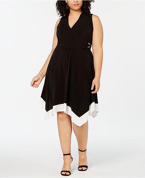Love Squared Plus Size Contrast-Trim Handkerchief-Hem Dress
