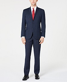 Men's Ready Flex Slim-Fit Stretch Navy Plaid Suit