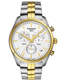 Tissot Men's Swiss Chronograph T-Classic PR100 Two-Tone PVD Stainless Steel Bracelet Watch 41mm
