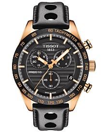 Tissot Men's Swiss Chronograph T-Sport PRS 516 Black Leather Strap Watch 42mm