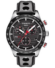 Tissot Men's Swiss Chronograph T-Sport PRS 516 Black Leather Strap Watch 43mm