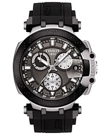 Men's Swiss Chronograph T-Sport T-Race Black Silicone Strap Watch 47.6mm