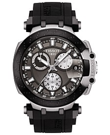 Tissot Men's Swiss Chronograph T-Sport T-Race Black Silicone Strap Watch 47.6mm