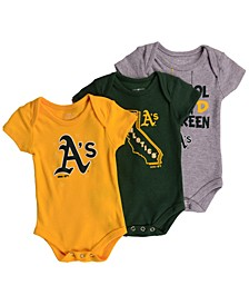 Oakland Athletics Big Time Fan 3 Piece Set, Infants (0-9 Months)